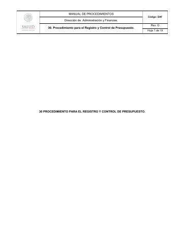 Procedimiento para el Registro y Control de Presupuesto