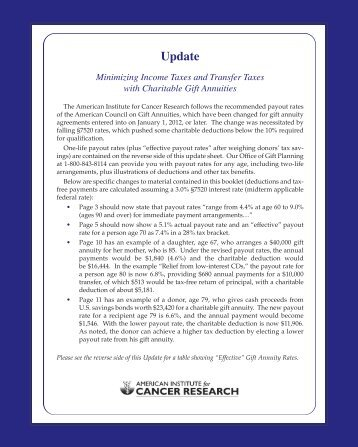 2012 New Gift Annuity Rates - American Institute for Cancer Research