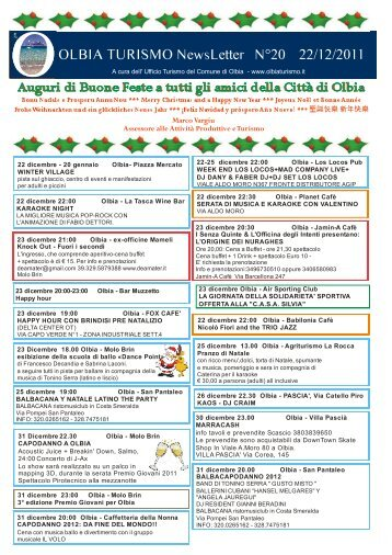 Newsletter ufficio turismo Olbia n. 20 del 22/12/2011 (PDF)