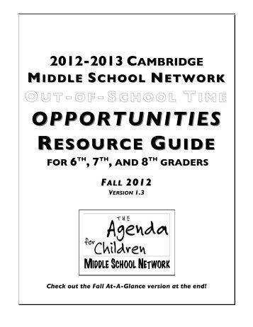 12-13 School Year Opportunities Guide Oct 2012 - Cambridge ...
