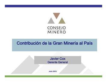 Contribución de la Gran Minería al País - Comisión Chilena del Cobre