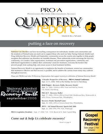 quarterly - PRO-A.org - Pennsylvania Recovery Organizations Alliance