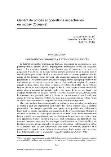 Gabarit de procès et opérations aspectuelles en ... - Lacito - CNRS