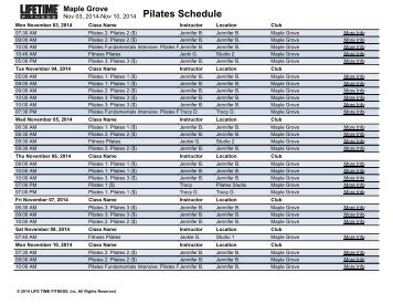 Pilates Schedule Maple Grove Life Time Fitness Scheduling
