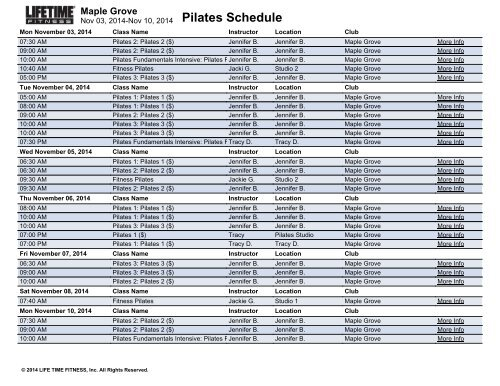 Pilates Schedule Maple Grove - Life Time Fitness Scheduling