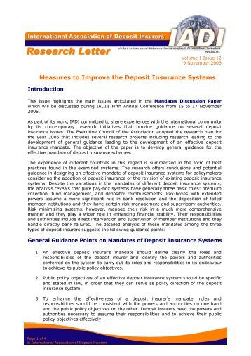 Measures to Improve the Deposit Insurance Systems - International ...
