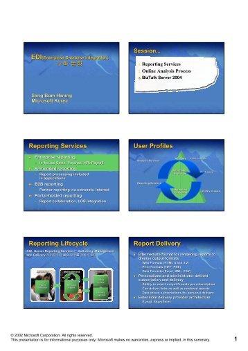 구축 동향 Reporting Services User Profiles Reporting Lifecycle ...