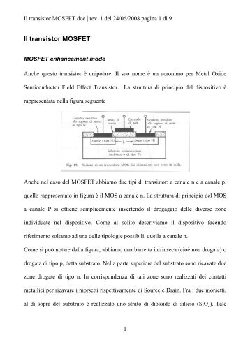 Il transistor MOSFET - Antoniosantoro.com