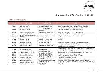 Projetos de Iniciação Científica – Processo 2010 ... - Senac São Paulo