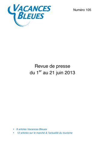 50 free magazines from vacancesbleues fr for Vacances bleues erdeven