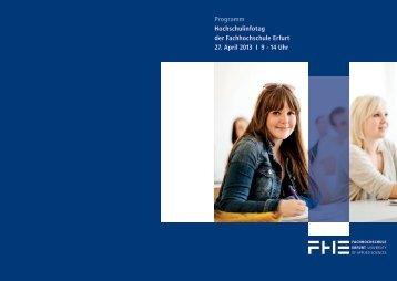Programm FH Erfurt - Hochschulinfotag in Erfurt