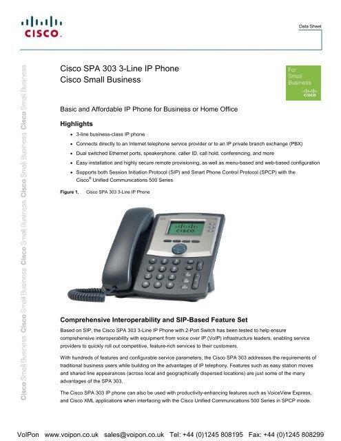 Cisco SPA 303 Datasheet (PDF) - VoIPon Solutions