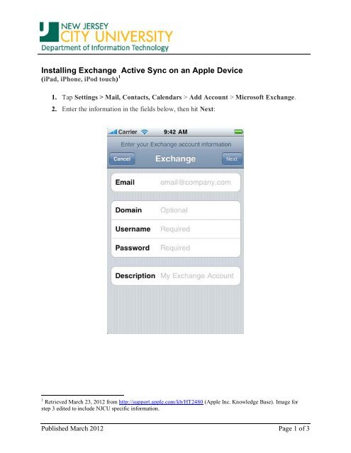 Installing Exchange Active Sync on an Apple Device - New