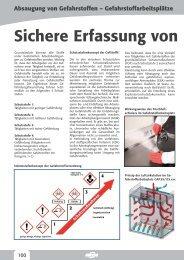 Absaugung von Gefahrstoffen - Gefahrstoffarbeitsplätze
