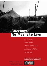 No Means to Live Chechnya: - World Organisation Against Torture