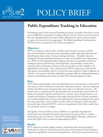 Public Expenditure Tracking in Education - Education Policy Data ...