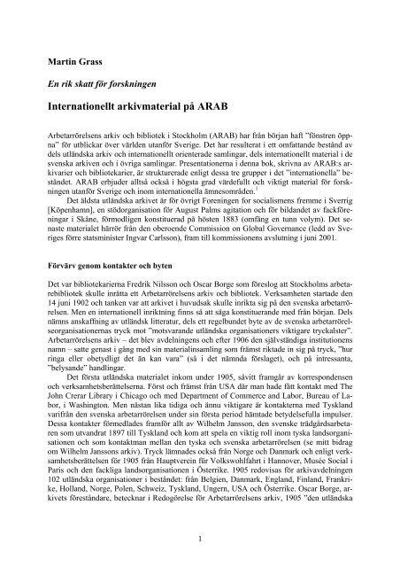 Internationellt arkivmaterial på ARAB (Världen i källaren)