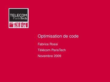 Optimisation de code - Fabrice Rossi