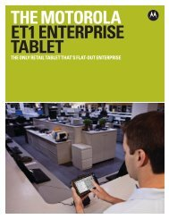 The Motorola ET1 Enterprise Tablet - Motorola Solutions