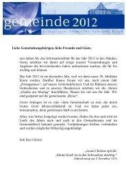 Veranstaltungen 2012 - Kirche des Nazareners Hanau