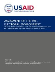 ASSESSMENT OF THE PRE- ELECTORAL ENVIRONMENT: - usaid