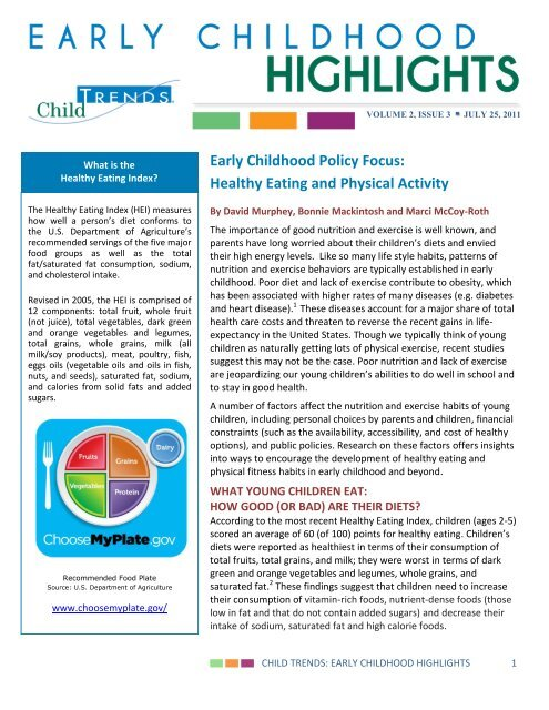 Early Childhood Policy Focus: Healthy Eating and     - Child