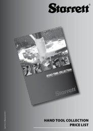 HAND TOOL COLLECTION PRICE LIST - Starrett