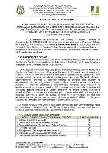 EDITAL N.º 5/2012 – UAB/UNEMAT EDITAL PARA SELEÇÃO DE ...