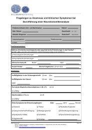 Fragebogen zu Anamnese und klinischen Symptomen bei ...