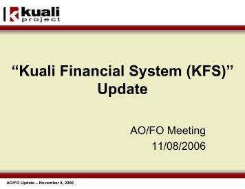 """Kuali Financial System (KFS)"" Update"