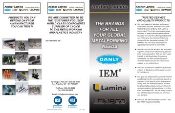Anchor Lamina Corporate Line Card - Danly IEM