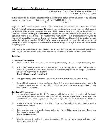 Le Chatelier S Principle And Equilibrium Santa Fe College