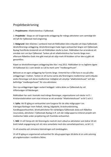 Projektplan - Leader i Skåne