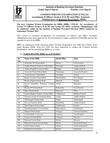 ibpsr@i COMMON W recruitment of Officer 5 18 Institute of Banking ...