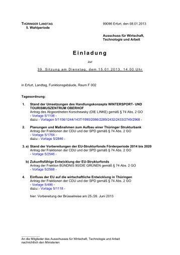 Ausschusseinladungen - Thüringer Landtag - Freistaat Thüringen