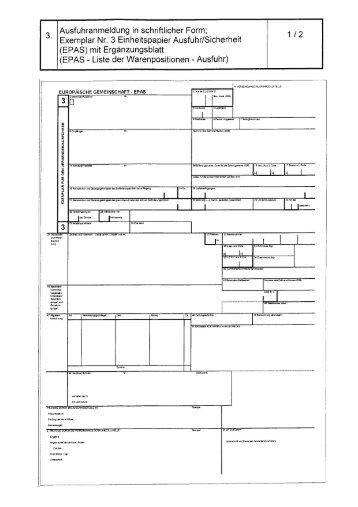 Page 1 Ausfuhranmeldung in schriftlicher Form; Exemplar Nr. 3 ...