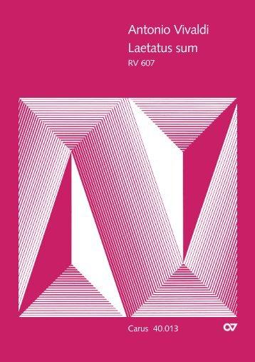 Antonio Vivaldi Laetatus sum - Carus-Verlag