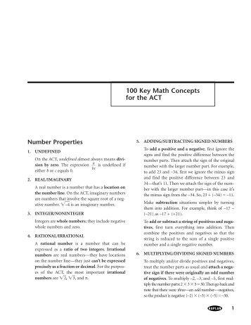 100 Math Concepts