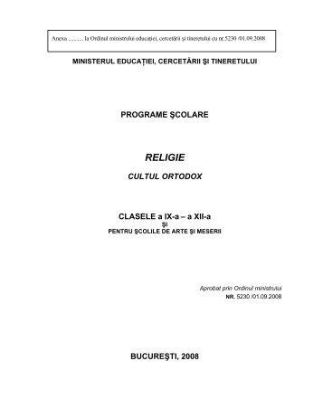 Programa şcolară - Religie