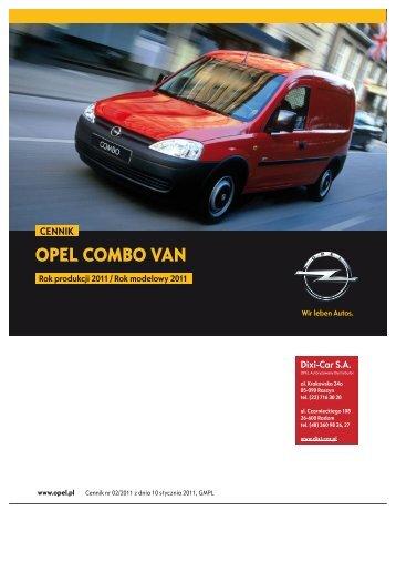 Cennik - Opel Combo Van, rok produkcji 2011, rok ... - Opel Dixi-Car