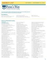AGENCY LIST - University of Pennsylvania