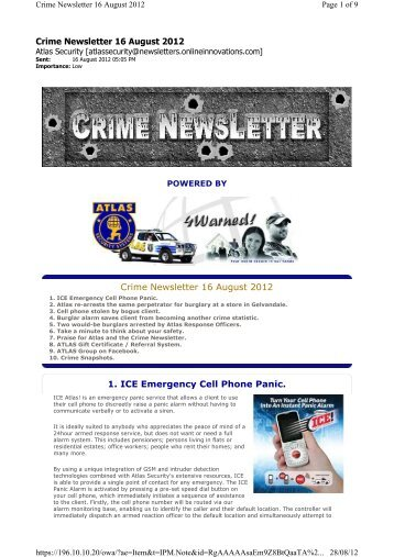 Crime Newsletter 16 August 2012 1. ICE Emergency ... - Atlas Security