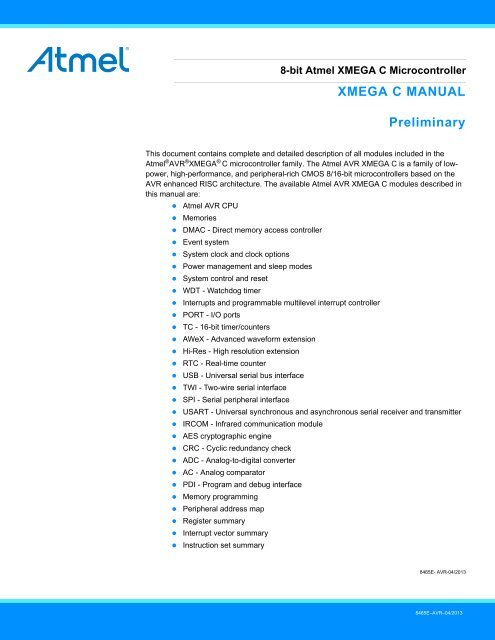 Atmel AVR XMEGA C Manual - E-LAB Computers