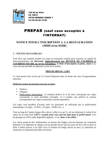 NOTICE POUR L' INSCRIPTION A LA RESTAURATION - Lycée ...