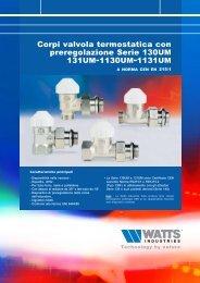 Corpi valvola termostatica con preregolazione ... - WATTS industries