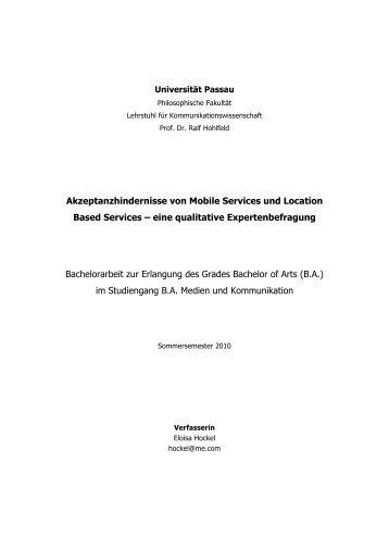 Akzeptanzhindernisse von Mobile Services und ... - Mobile Zeitgeist