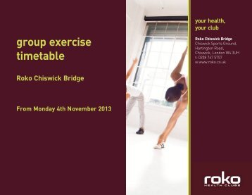 Chiswick classes timetable