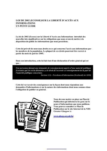 loi de 2002 (ecosse)sur la liberté d'accès aux informations un petit ...