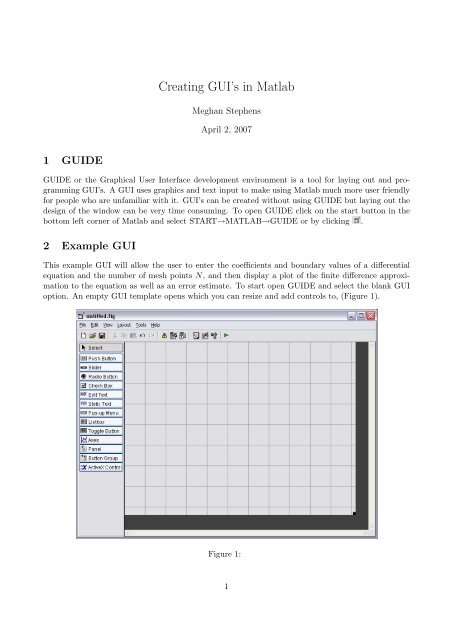 Creating GUI's in Matlab