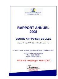 RAPPORT ANNUEL 2005 - Centre antipoison de Lille